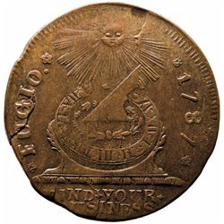 1787 FUGIO CENT Pointed Rays - STATES UNITED. Newman 7-T. Later Die State AU