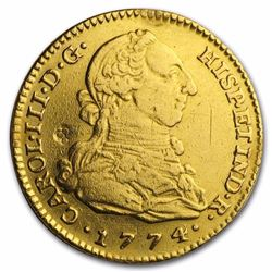 1774-M PJ Spain Gold 2 Escudo Coin AU 243 Years Old