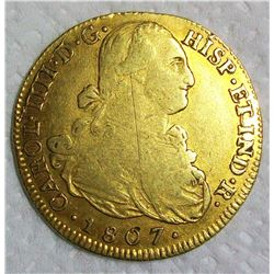 1807-P JF Colombia Gold 8 Escudos Charles IV, 210 YEAR OLD GOLD COIN