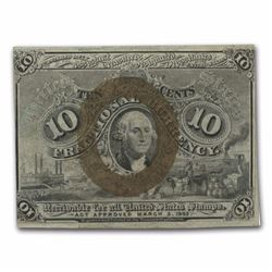 2nd Issue Fractional Currency 10 Cents CU (Misalignment) RARE MINT ERROR