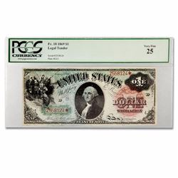 "1869 $1.00 Legal Tender Washington VF-25 PCGS ""Rainbow Series"" Allison/Spinner signatures—Friedberg"