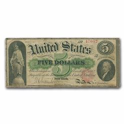 1862 $5.00 Legal Tender Alexander Hamilton XF, RARE FIND CIVIL WAR NOTE!