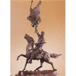 "Frederick Remington ""Buffalo Signal"" Pure Bronze Sculpture Handmade in the USA 117""x10""x5"""