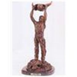 "Frederick Remington ""Calling the Buffalo"" Pure Bronze Sculpture Handmade in the USA 17""x8""x8"""
