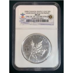 2008 Vancouver 2010 Olympics Canada Maple Leaf NGC MS69 One of First 125K Struck