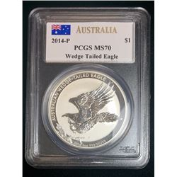 2014-P Australia Wedge-Tailed Eagle PCGS MS70, Mercanti Signed