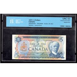 1972 $5 Bank of Canada CCCS UNC-63 Lawson-Bouey