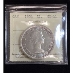 1954 $1 Canadian Silver Dollar ICCS MS64