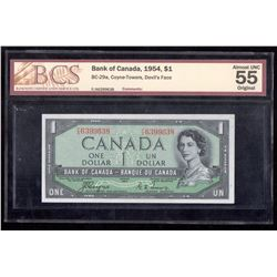 1954 $1 Bank of Canada BCS Almost UNC 55 Devil's Face BC-29a