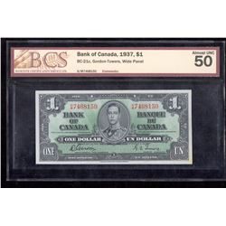 1937 $1 Bank of Canada BCS Almost UNC 50 BC-21c