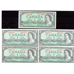 Lot of 5 - 1954 $1 Bank of Canada