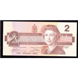 1986 $2 Bank of Canada Banknote Low Serial Number