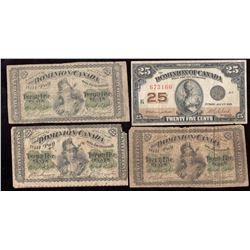 Lot of 4 Dominion of Canada 25-Cents Shinplaster 1870 1923 Notes