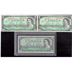 Lot of 3 1954 & 1967 $1 Bank of Canada Replacement Notes