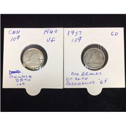 Lot of 2 - 1940 & 1957 10-Cents