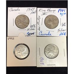 Lot of 4 - Canada 25-Cents Silver