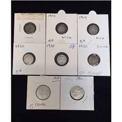 Lot of 8 - Canadian 5-Cents Silver