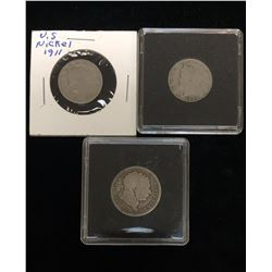 Lot of 3 - US and British Coins