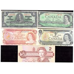 Lot of 7 - Bank of Canada Banknotes