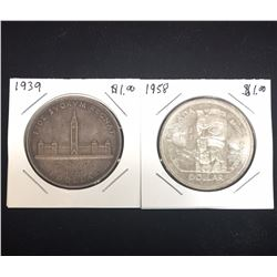Lot of 2 - $1 Canada Silver Dollars, 1939, 1958