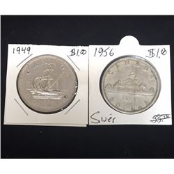 Lot of 2 - $1 Canada Silver Dollars, 1949, 1956