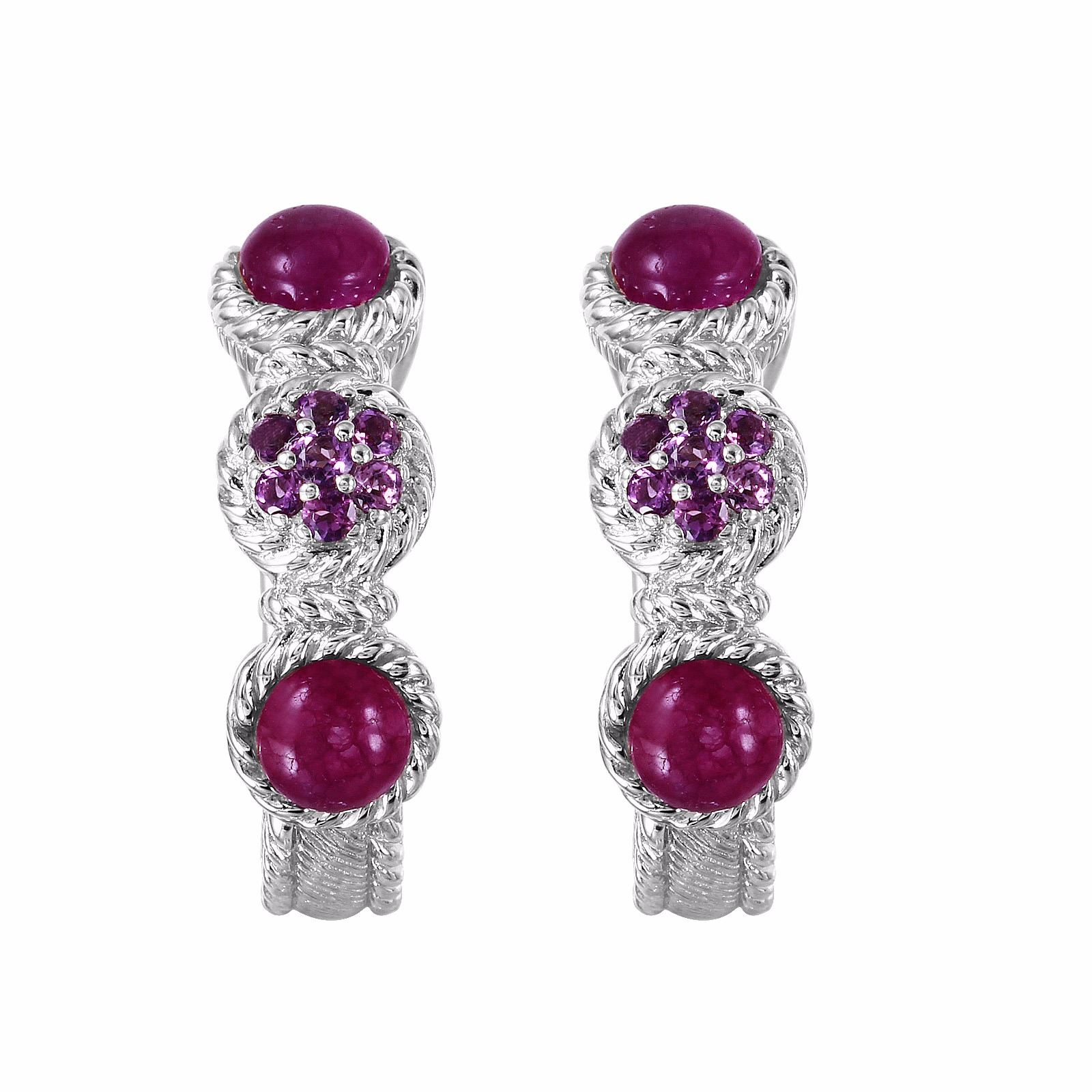 Image 1 Judith Ripka Sterling Amethyst Hoop Earrings 1691
