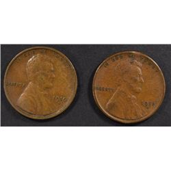 1910-S & 11-S LINCOLN CENTS, VF