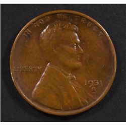 1931-S LINCOLN CENT, XF mark on reverse KEY DATE