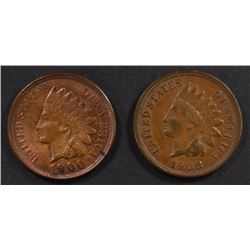 1900 & 1908 INDIAN CENTS, CH BU