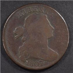 1807/6 DRAPED BUST LARGE CENT, VG/FINE