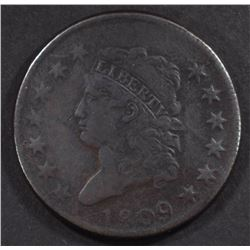 1809 CLASSIC HEAD LARGE CENT, VF KEY DATE