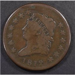 1812 CLASSIC HEAD LARGE CENT, VG/FINE