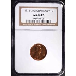 1972/72 DOUBLED DIE OBV LINCOLN CENT, NGC MS-64 RD