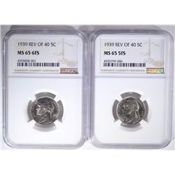 (2) 1939 REV. OF 40 JEFFERSON NICKELS, NGC MS65