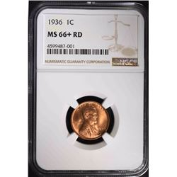 1936 LINCOLN CENT, NGC MS-66+ RD