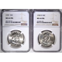 1958-D & 1959 FRANKLIN HALF DOLLARS NGC MS-64 FBL