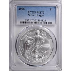 2005 AMERICAN SILVER EAGLE PCGS MS-70  BETTER DATE