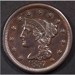 1857 LARGE CENT CH/BU  BROWN  RARE