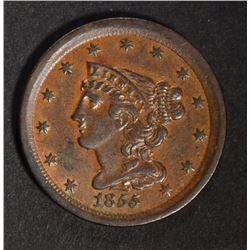 1855 HALF CENT  CH BU  BROWN