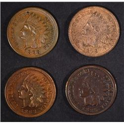 4 INDIAN HEAD CENTS: 1883, 1885, 1893 & 1908
