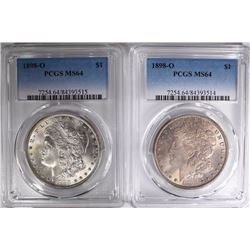 2 - 1898-O MORGAN DOLLARS PCGS MS64