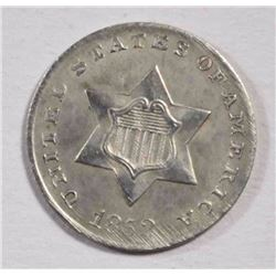 1852 THREE CENT SILVER  CH BU