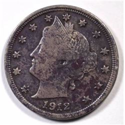 1912-S LIBERTY V NICKEL FINE, DARK, KEY!