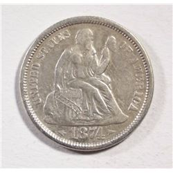 1874 ARROWS SEATED DIME  AU