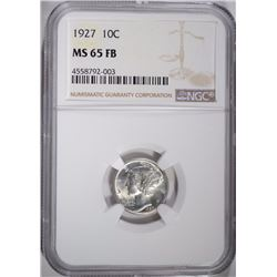 1927 MERCURY DIME, NGC MS-65 FB