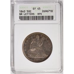 1840 SM LETTERS SEATED HALF RPD ANACS EF-45