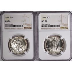 1942 & 1943 WALKING LIBERTY HALVES, NGC MS-64