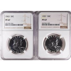 1957 & 1963 PROOF 67 FRANKLIN HALVES NGC PF67