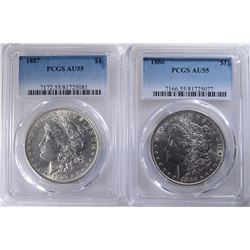 1886 & 1887 MORGAN DOLLARS PCGS AU-55