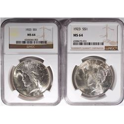 2- 1923 PEACE SILVER DOLLARS, NGC MS-64